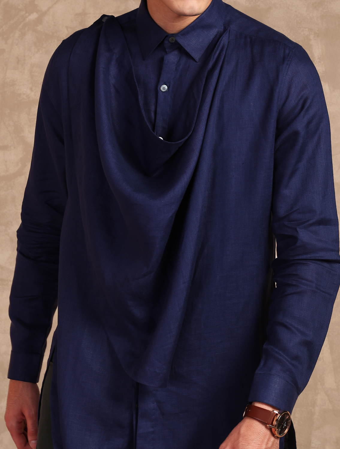 Navy Cowl Long Linen Shirt