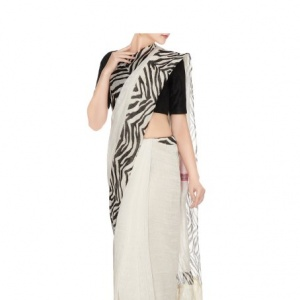 Hiver White Silk Linen Saree with Ruffled Border