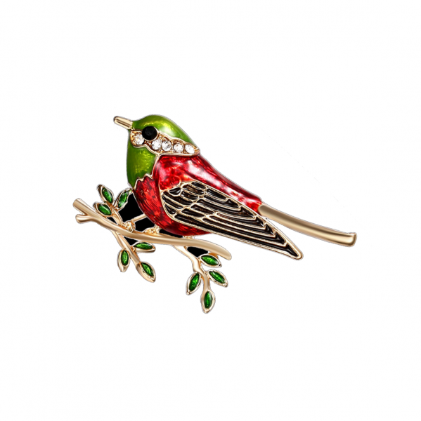 Green Oriole Bird Brooch