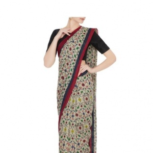 Reyo Tussar Silk Printed Striper Border Saree