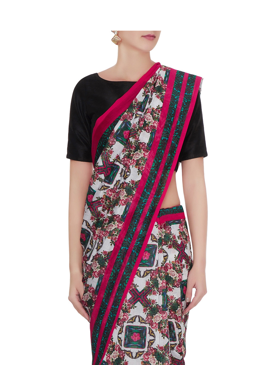 Asiana Handloom Cotton Sari with Ruffle Border