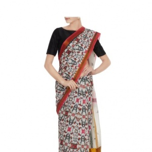 Perizaad Handloom Cotton Saree with Zari border
