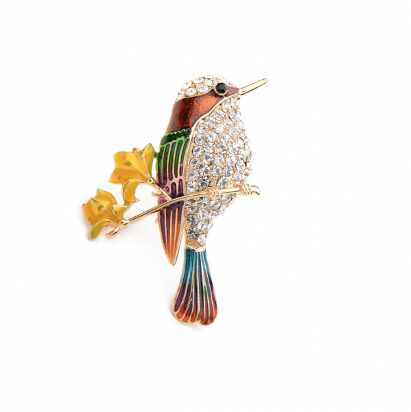 Yellow Hummingbird Brooch