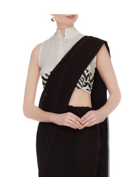 Blac High collar Silk Linen Blouse