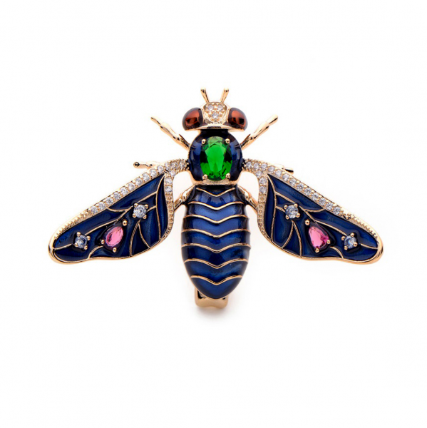 Blue Bhusvah Bee Brooch