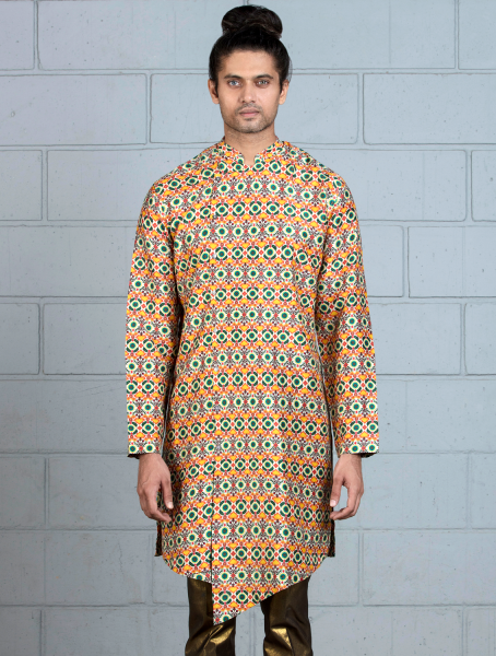 Benares Kurta with asymmetrical placket