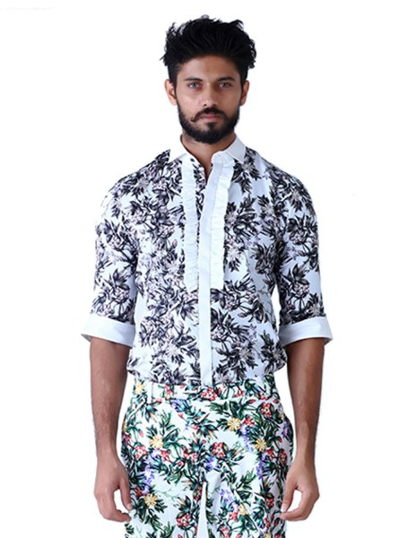 Accord Frill Placket Printed Shirt
