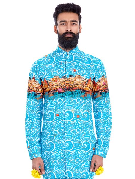 Ganges Printed Sky Blue Shirt