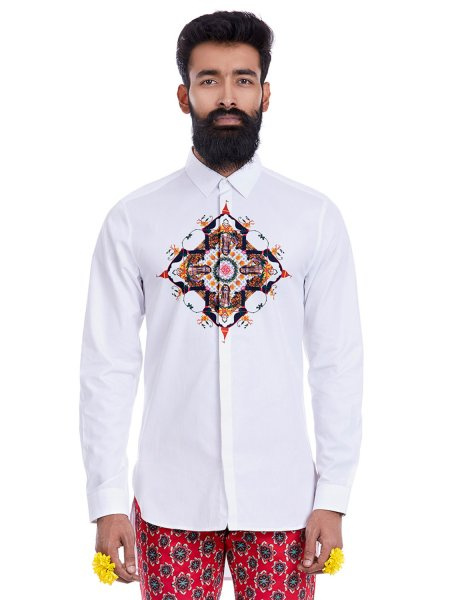 Dhamek Central Print White Shirt