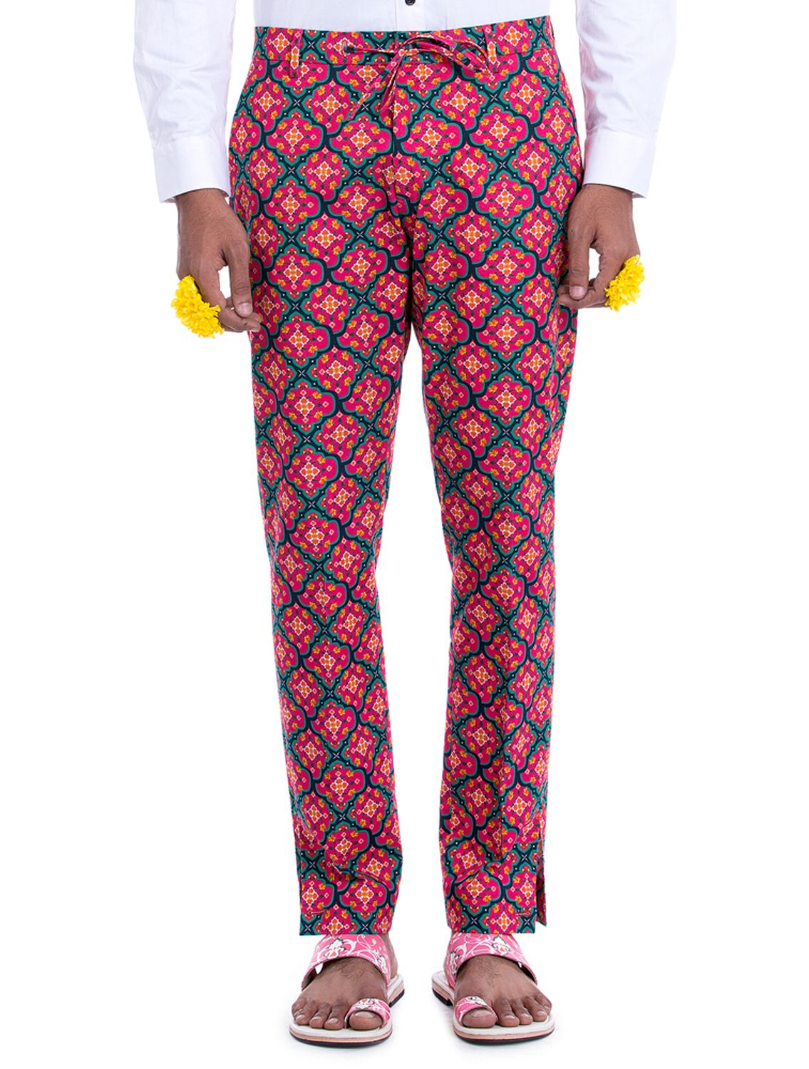 Avimukta Red Linen Printed Trousers