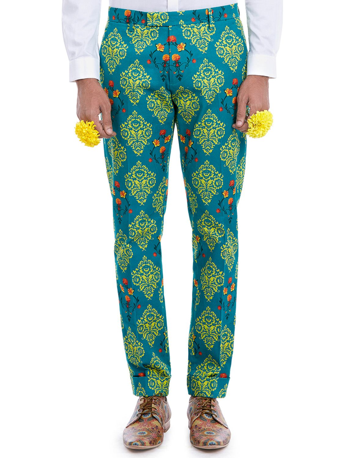 Vayu Green Printed Trousers