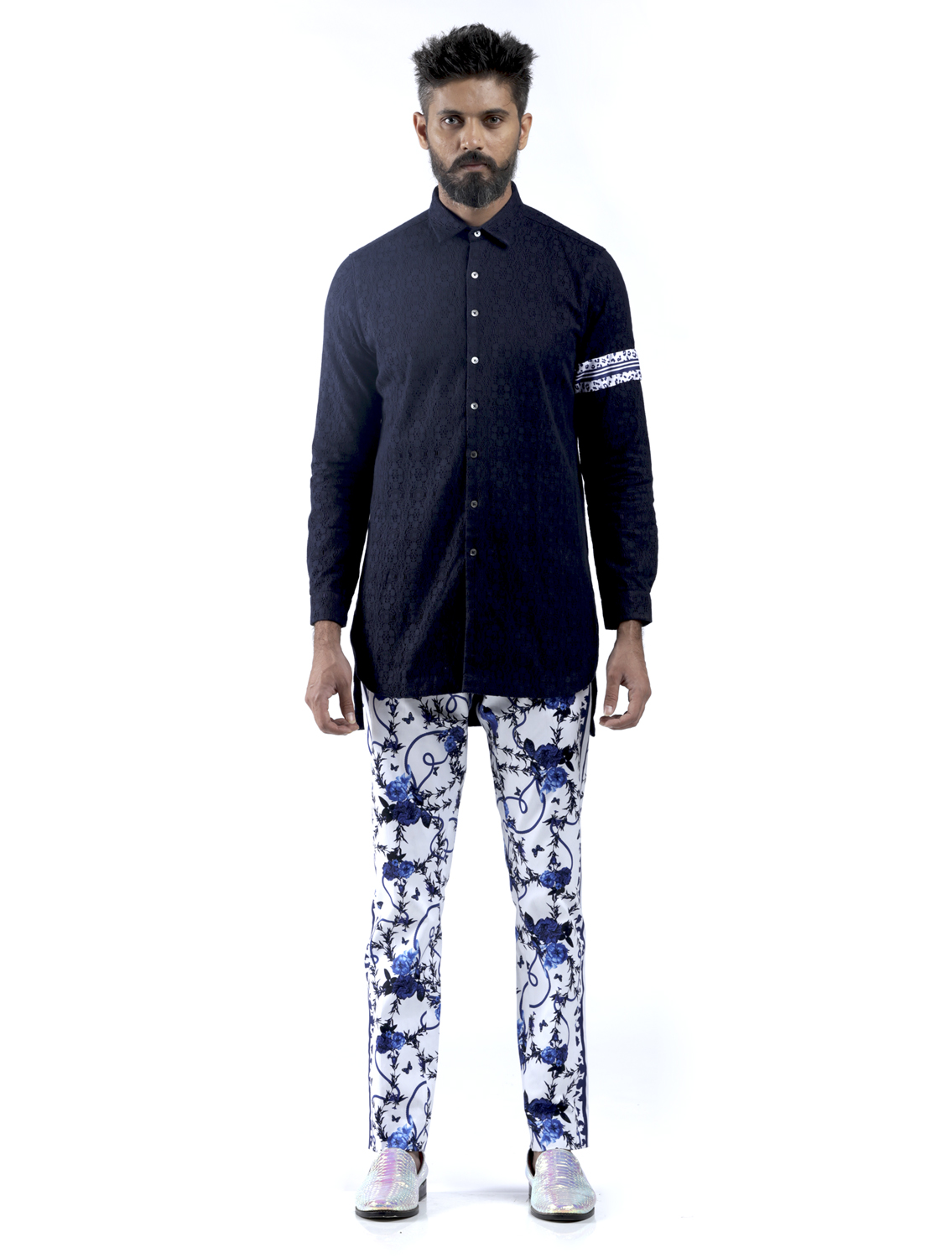 Aakesh Navy Lace Shirt