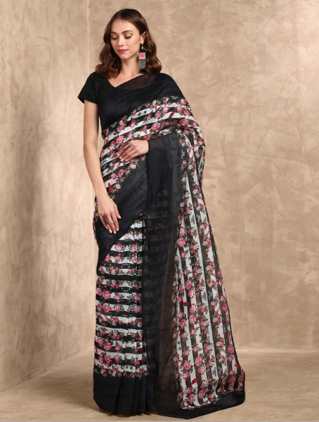 Black Nuit Handloom Cotton Saree