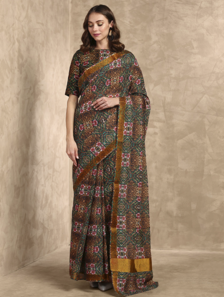 Goldie Leopard Printed Saree