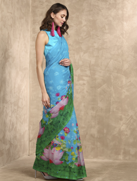 Aqua Lotus Sutra Printed Saree