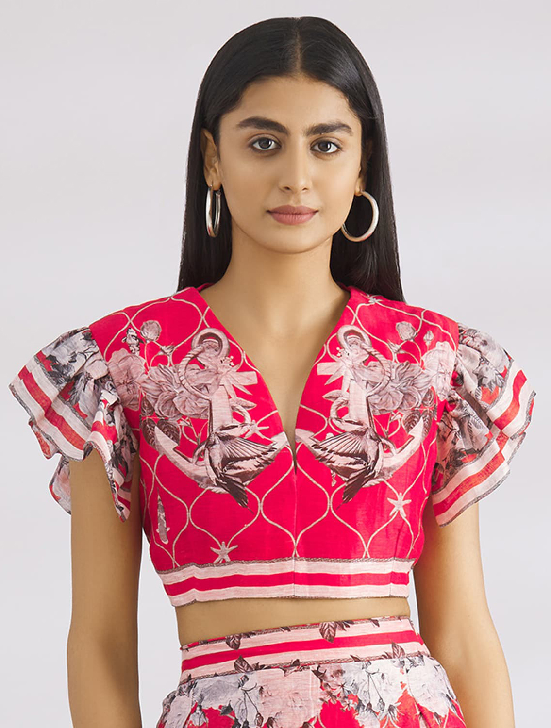 Nia Coral Ruffle Shoulder Blouse