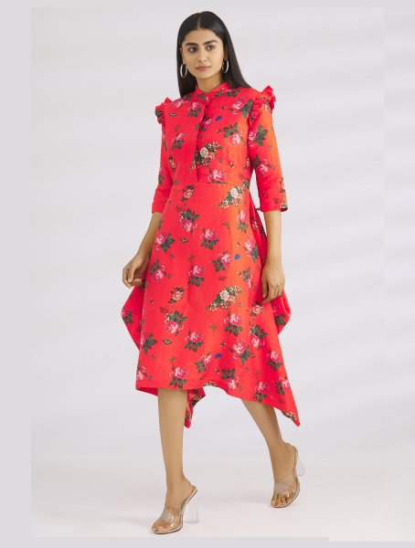 Beyo Red Floral Printed Dress