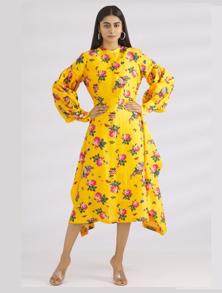 Seyo Yellow Floral Printed Dress