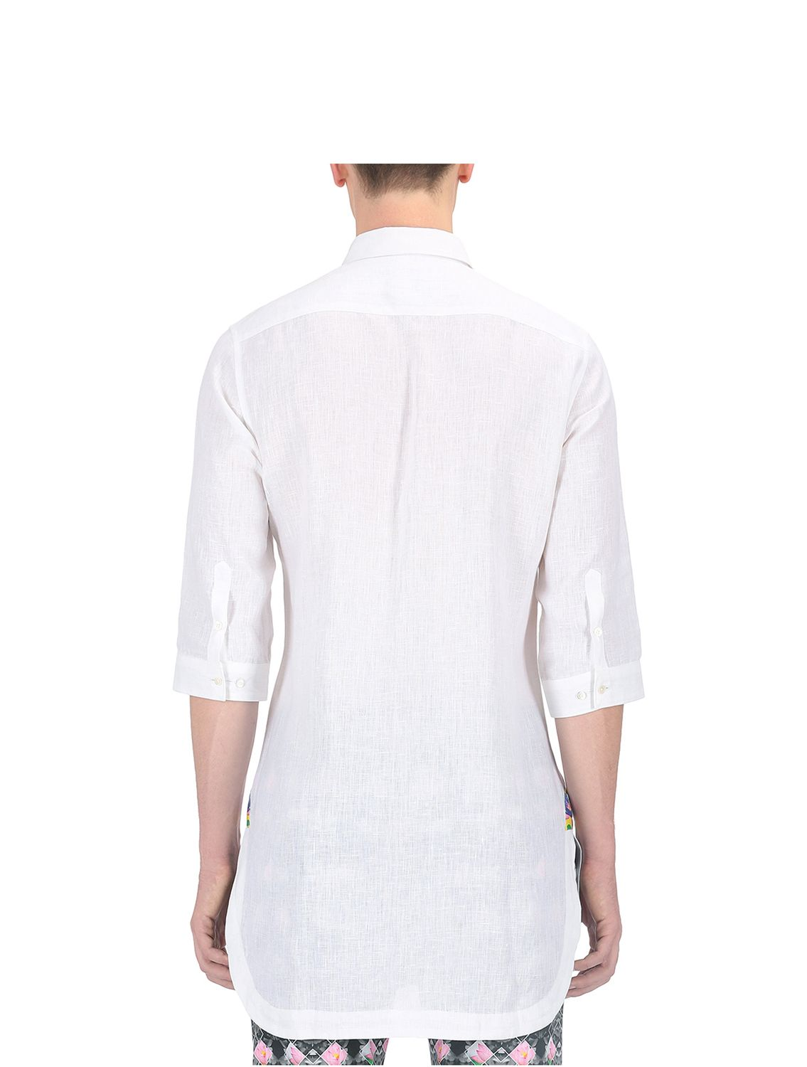 White Jalaj Applique Linen Shirt