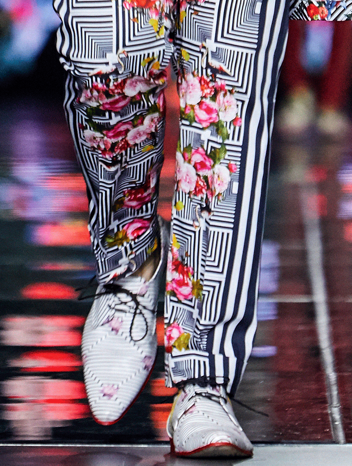 Scallion Florogeometric Printed Trousers